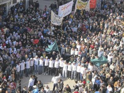 Syria protesters in Baba Amr (Pro-freedom = Anti-Assad)