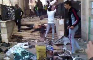 victims of the mosque massacre in central Yarmouk, from Syrian Air Force bomb raids