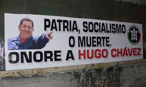 The extreme right Italian movement Casa Pound mixes Right, Left and Nationalism all in this poster, Fatherland, Socialism or Death. Honour to Hugo Chavez