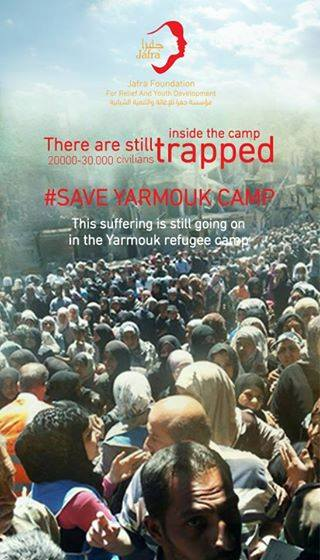 20.000 - 30.000 civils sont toujours pris au piège à l'intérieur du camp.   #SaveYarmoukCamp  Les souffrances continuent sans répit dans le camp de réfugiés de Yarmouk.