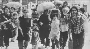 Palestinian refugees fleeing Tel al Zataar refugee camp. Merit goes also to Hafez Al-Assad
