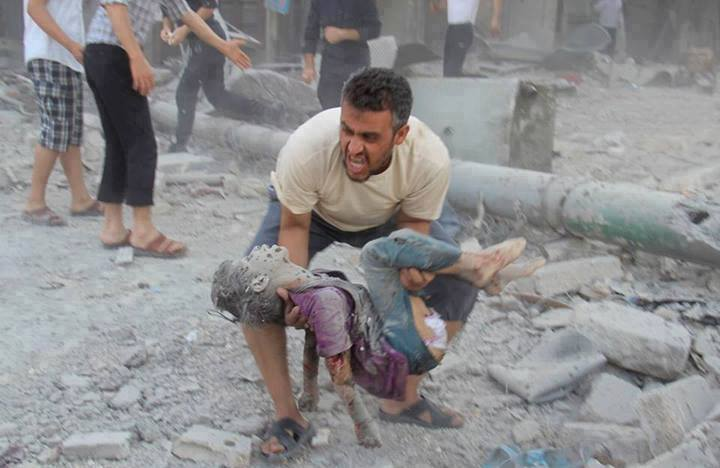 """Most of us recognise this picture as being from Aleppo. Aftermath of one of the market bombings by the Syrian regime against a civilian population. It circulates also as Gaza, where those who are then corrected, instead of saying, """"this is terrible and  a crime against humanity"""" say instead, """"Well, it REPRESENTS the suffering of the Gazans"""". The point is lost and truth is not served."""