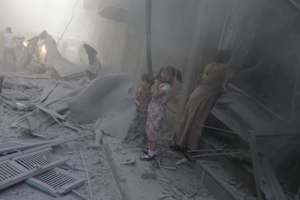 Aftermath of attacks in Douma, near Damascus. The Assad regime drops barrel bombs repeatedly, sometimes just to target those who recover the dead and wounded.