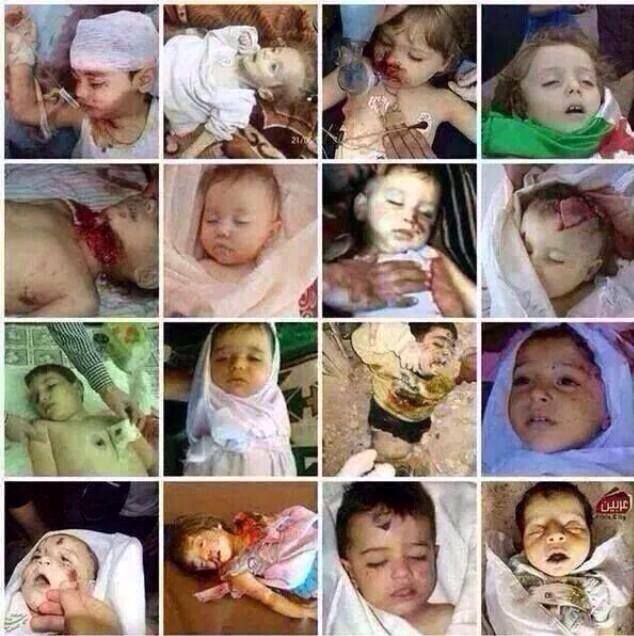 a composite photo of some of the thousands of Syrian infants slaughtered in every way possible, one of them even wrapped in a Syrian Independence Flag... they finally got some interest when they ceased to be victims of Assad.