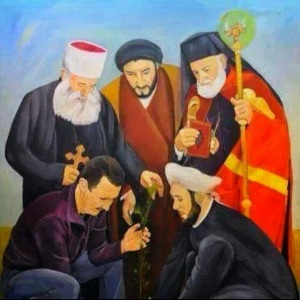 "A bit of ""Baathist Realism"" painting: depicts Assad nurturing the tree sprout supported by: Sunni Grand Mufti of Syria Badr ad-Din Hasun (lower right), Greek-Catholic (Melikite) Patriach Gregory Lahham (upper right), an unidentified Shiite cleric who has similarities with Iraqi sayid Ammar al-Hakim (top center) and a Druze shaikh, maybe shaikh al-'aql Hammud al-Hinnawi (top left)."