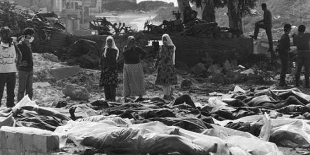 Some of the victims of the massacre of civilians in the 1976 Tal al Zaatar Palestinian refugee camp in Lebanon by Assad's forces and Maronite Lebanese troops