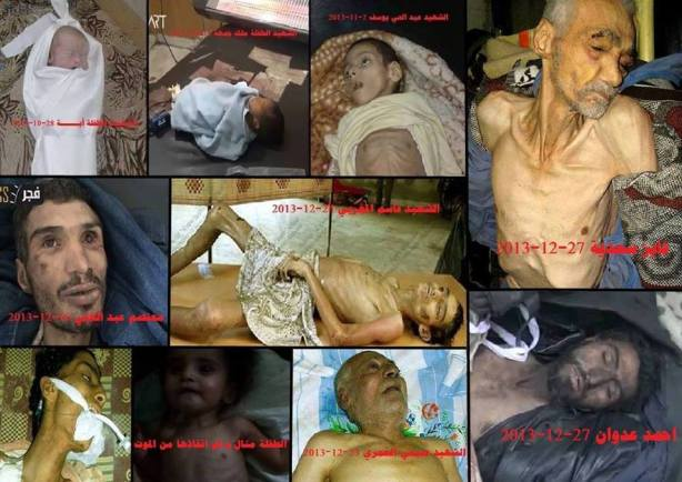 Some of the residents of Yarmouk Palestinian refugee camp in Damascus who have starved to death under the continuing regime siege on the camp, much of which has been destroyed by two years of regime aerial and heavy artillery bombardment.