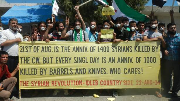 One of the weekly Kafranbel protests marking the first chemical attack anniversary. Credit to: Occupied Kafranbel