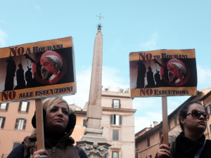 Protests against Rouhani's visit in Rome
