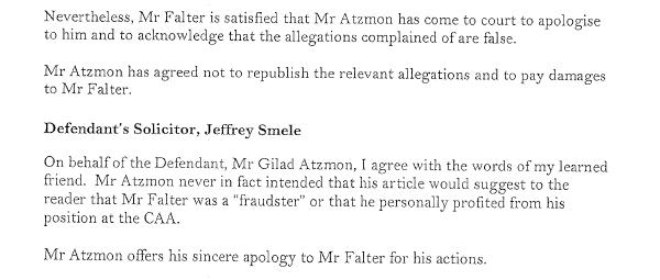atzmon apology